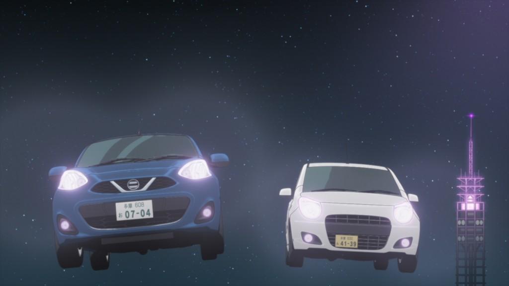 あおいが運転する進行車が、他の制作会社の車と激しいカーチェイスを繰り広げる