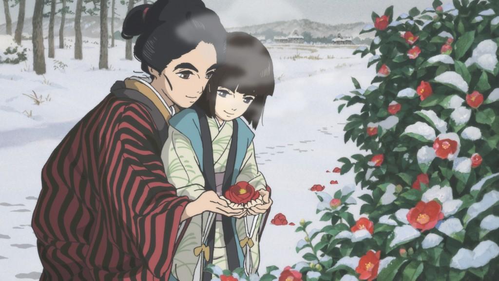 雪の中、椿の花を愛でるお栄とお猶。この場面が取材で話題になっているところだ