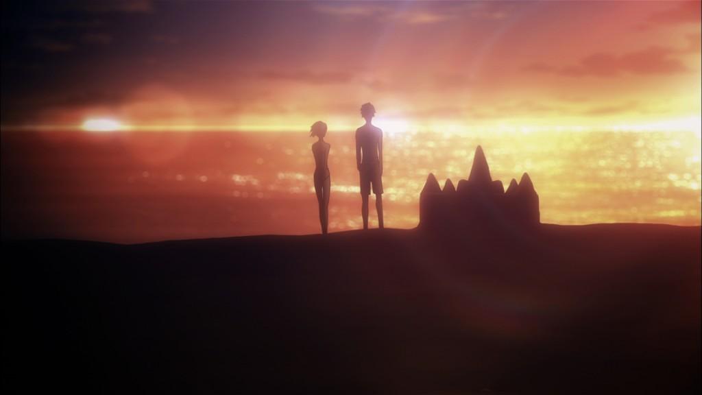 第13話より。妹である果音との想いが交差する瞬間。美しいレンズフレアと背景、そして島崎、伊瀬両氏の芝居が冴える。