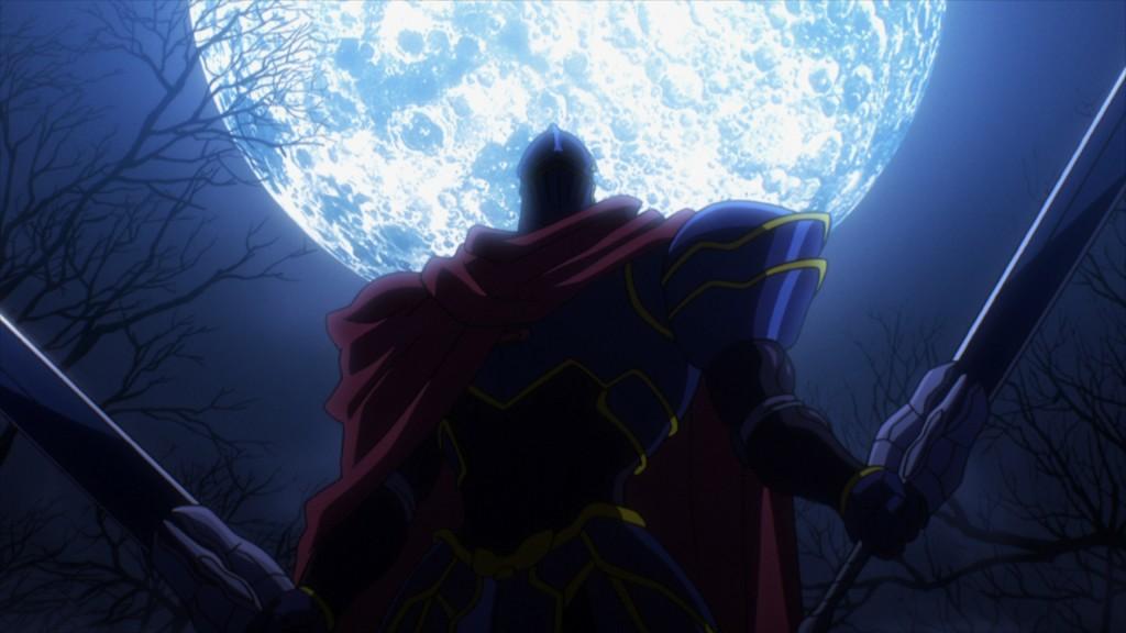 川尻善昭氏が絵コンテを担当した第8話より。蒼い夜にモモンが月を背負って立っている、川尻氏らしいカット。