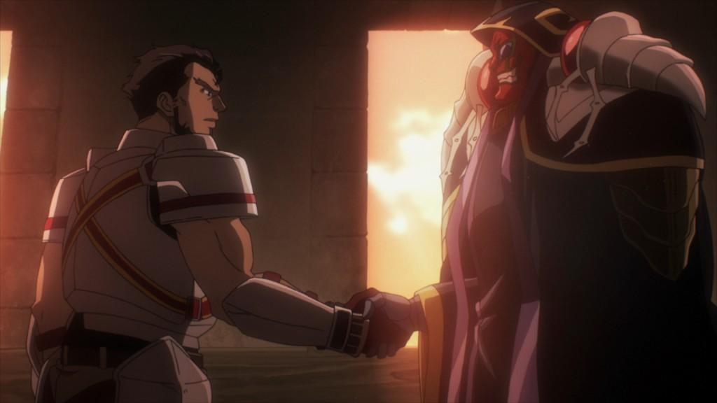 第4話にてガゼフと握手するアインズ。この前の第3話でも、アインズはカルネ村の村長と握手を交わしている。