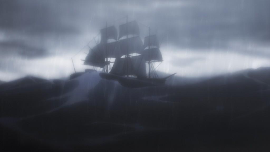 第1話より。イクタたちが乗る船は予期せぬ嵐に遭う。